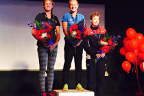Tři nejlepší triatlonistky letošního mistrovství Evropy v dlouhém triatlonu – zleva druhá Victoria Gillová, vítězná  Camilla Lindholmová  a bronzová Eva Potůčková.