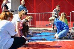 Žáci 20. ZŠ v Plzni malovali choreo na zápas s Karvinou.