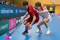 Česko U19 (v červených dresech) - Švýcarsko U19.