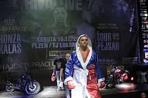 Plzeňský boxer Pavel Šour na cestě do ringu před prosincovým duelem s Václavem Pejsarem v Plzni.