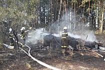 Požár včelína zaměstnal několik jednotek hasičů.