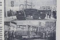 Pravda, 16. března 1968. Havarovaný náklaďák a havarovaná tramvaj v někdejších Nejedlého sadech.