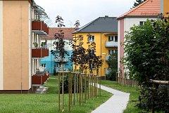 Mezi dříve šedivými bytovkami, které teď už hrají barvami, vede úplně nový chodník. Lidé po něm mohou dojít až ke sportovnímu areálu a vyhnout se silnici.
