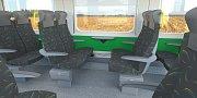 Tři možné varianty exteriéru a dvě varianty interiéru vlaků RegioPanter. Na koleje vyjedou v prosinci 2018.