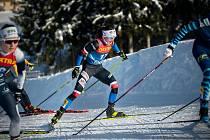 Kateřina Razýmová na trati posledního závodu Světového poháru ve švýcarském Engadinu.
