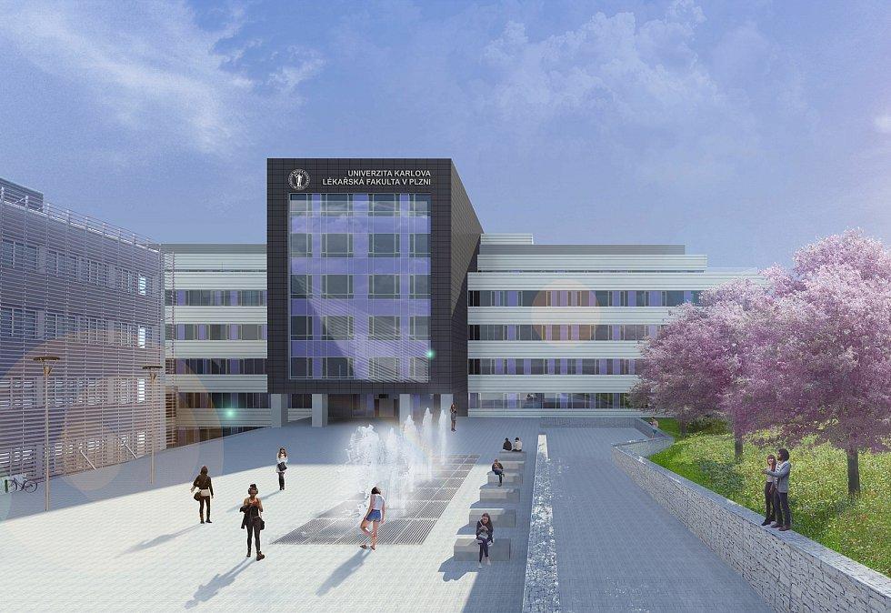 Vizualizace nových budov Lékářské fakulty v Plzni, vstupní pohled.