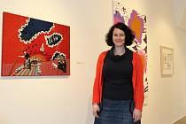 Daniela Hoferer, drážďanská výtvarnice, v GmP se svým vyšívaným obrazem.