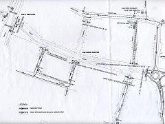 Mapa s uzavírkami na Americké třídě v Plzni
