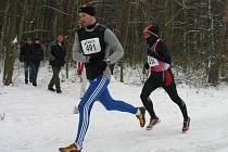 Vánoční desítku vyhrál v hlavní kategorii Petr Minařík z Rokycan (vpředu), mezi muži nad 40 let byl nejrychlejší Vlastimil Šroubek z pořádajícího SC Marathon