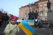 Shromáždění na podporu Ukrajiny na Masarykově náměstí v Plzni
