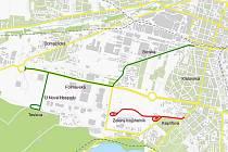 Na archivní mapce zelená linka znázorňuje již hotovou trolejbusovou trať od jižního nádraží k Makru a červená linka plánované prodloužení tramvaje č. 4 z konečné na Borech Kaplířovou ulicí k ZČU