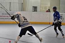 Pohodlnou výhru si připsali plzeňští hokejbalisté na závěr základní části s Letohradem, díky níž si zajistili prvenství v základní části. Na snímku se o střelu snaží Daniel Krásný.