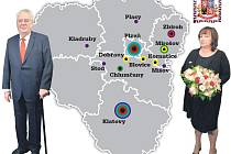 Mapa návštěvy prezidentského páru v Plzeňském kraji