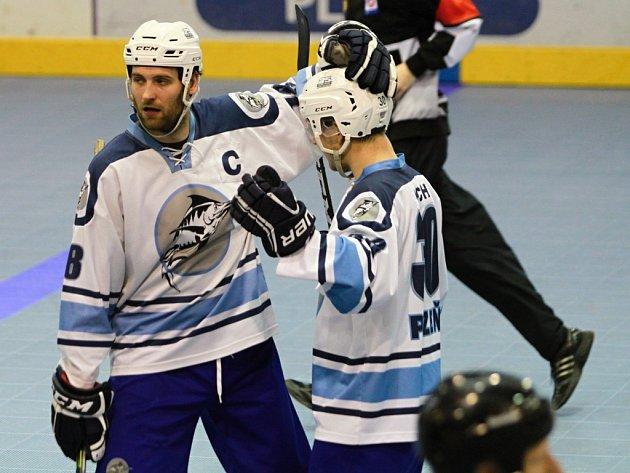 Takto se radoval v minulé sezoně Michal Edl (vlevo) z branky v síti soupeře.