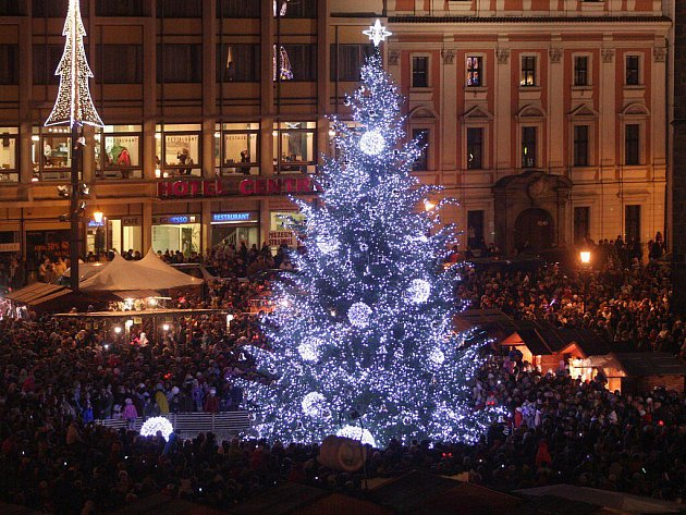 Plzeň rozsvítila vánoční jedli