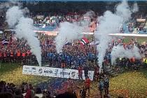 Oslavy pátého titulu na stadionu v Plzni