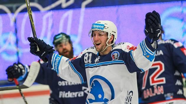 Jaroslav Kracík se raduje ze vstřelené branky.