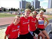 Atleti Škody Plzeň: zleva Tereza Hrochová, Petr Procházka, Josef Adámek a Jana Reissová.
