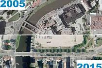 Letecký pohled na spodní část Americké třídy - srovnání let 2005 a 2015