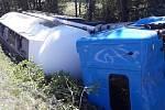 Nehoda kamionu, osobního auta a dodávky mezi Kaznějovem a Třemošnou