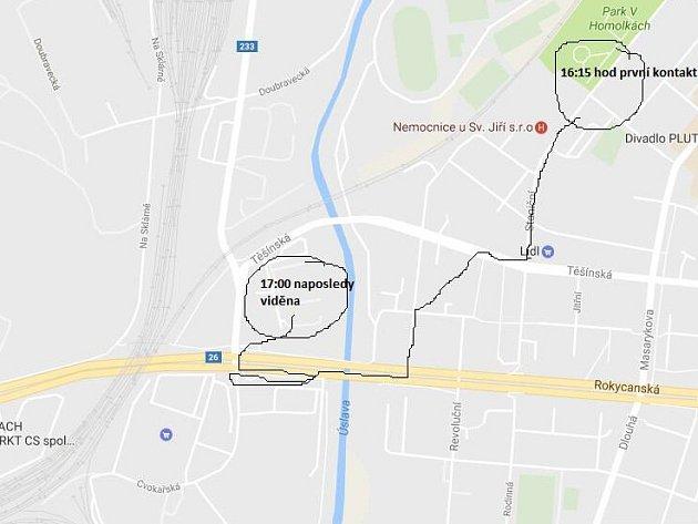 Mapa výskytu ztracené fenky šarpeje