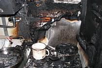 Požár bytu v Plzni-Lobzích