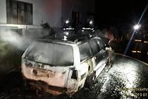 Požár auta v Kasejovicích