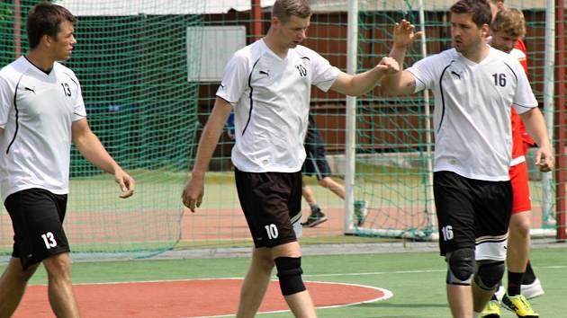 Radost z postupu si nakonec po čtvrtfinále mohly užít Přeštice, které zdolaly Tymákov 21:18. Na snímku vstřelený gól oslavují zleva Kamil Šelep a Ondřej Hošťálek.