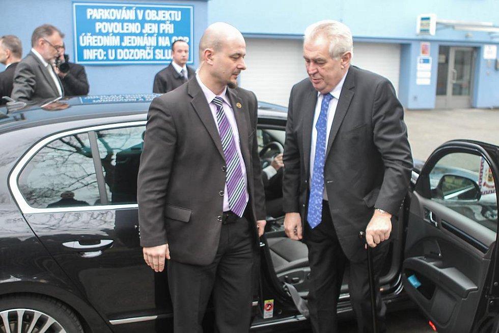 Příjezd prezidenta Miloše Zemana do Nýřan