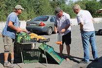 Prodejci meruněk na odpočívadle u silnice na Vysoké u Dobřan