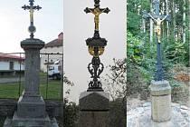 Zleva: Opravený - ve Dvorci u Nepomuka stojí už vylepšený křížek, Památka - křížek v Polánce, Jako nový - křížek v lese Obecník u Spáleného Poříčí