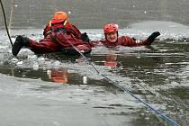 Profesionální hasiči ze stanice Plzeň - Košutka nacvičovali záchranu tonoucího z ledové vody na Třemošenském rybníku v Plzni - Bolevci.