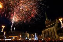 Novoroční ohňostroj 2018 na náměstí Republiky.