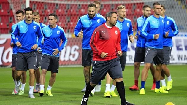 Fotbalisté Viktorie Plzeň se na trávníku Doosan Areny připravují pod dohleden asistenta trenéra Pavla Horvátha na utkání Evropské ligy proti srbské Vojvodině Novi Sad.