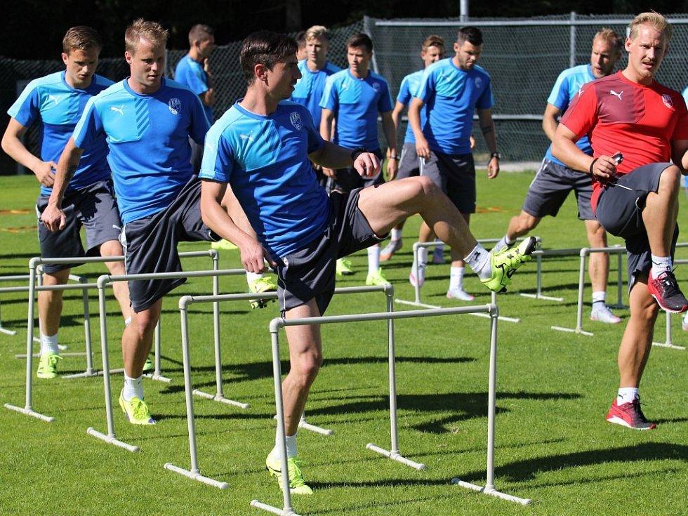 Odrazovou sílu nabírají fotbalisté Viktorie Plzeň na tréninku v rámci soustředění v rakouskémWestendorfu pomocí  přeskakování překážek.  Na snímku na levé straně překonávají překážky zpředu Milan Petržela, David Limberský a Jan Kopic.
