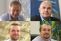 Kdo bude novým hejtmanem? Miloslav Zeman (ANO 2011, vlevo nahoře), Josef Bernard (ČSSD, vpravo nahoře), Martin Baxa (ODS, vlevo dole) nebo Václav Štekl (KSČM, vpravo dole)