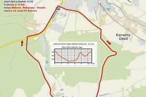 Mapa okruhu, na němž se ve středu 8. května koná Trofej Rokycan.