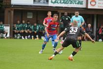 ZÁLOŽNÍK VIKTORIE PLZEŇ Martin Zeman (vlevo) se snaží přejít přes Omladiče v přípravném utkání proti Fürthu.