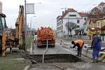 Stavební práce uzavřely Masarykovu ulici v Plzni.