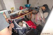 Asi rok a půl staré dítě žilo v Tylově ulici v Plzni ve sklepě plném nepořádku