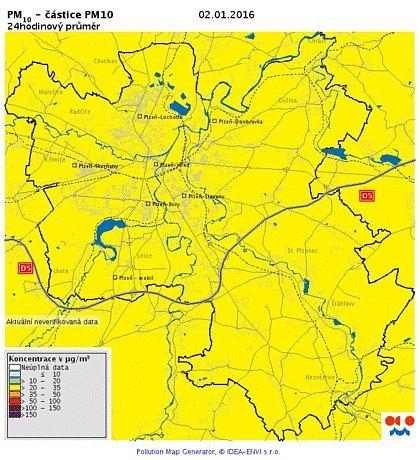 Koncentrace PM10 v ovzduší - 2. ledna
