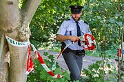 Policejní vyšetřovatelé na místě vraždy v Plzni na Roudné
