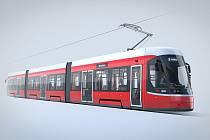 Vizualizace tramvaje Škoda ForCity Smart pro Dopravní podniky města Brna.
