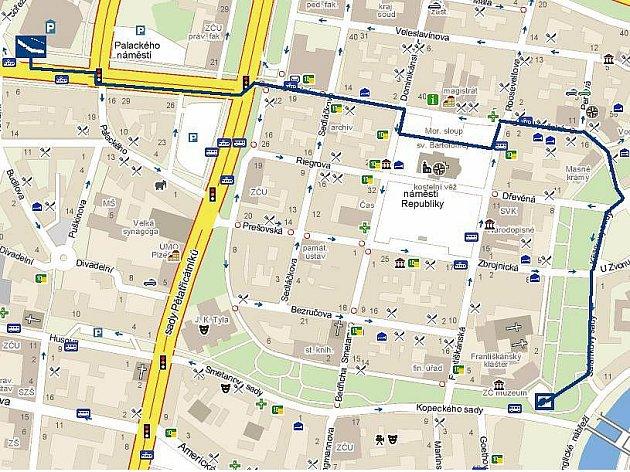 Plánovaná trasa pochodu