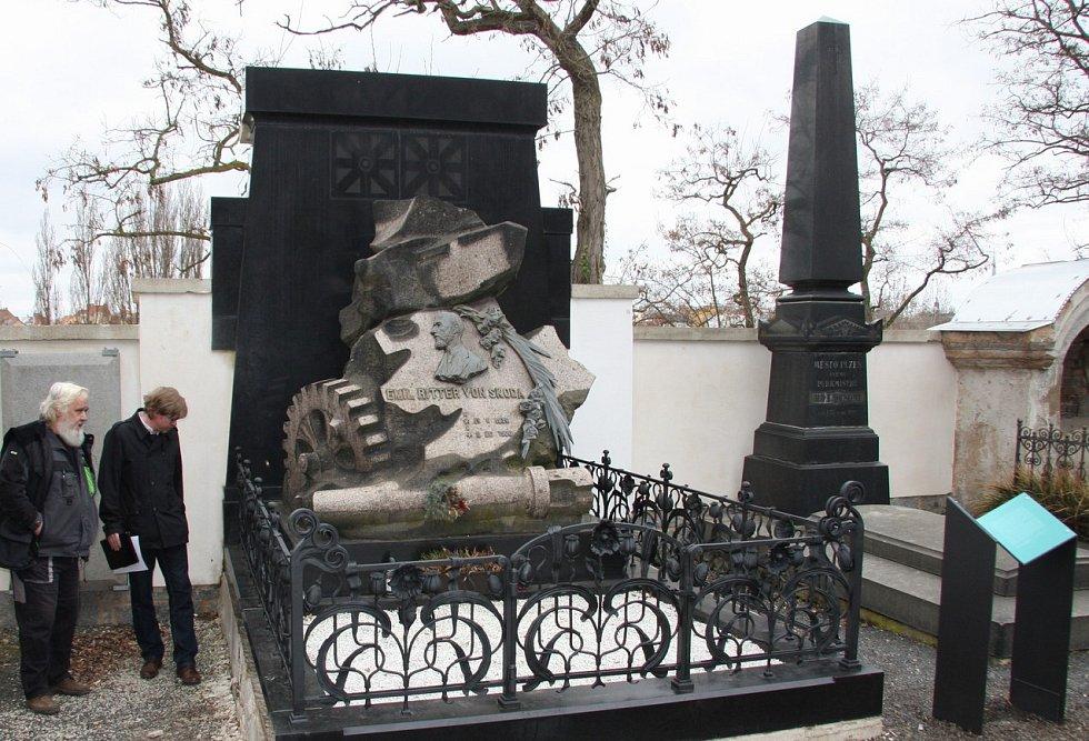 Zrekonstruovaný hrob slavného průmyslníka Emila Škody na Mikulášském hřbitově v Plzni.