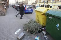 Nepořádek u popelnic v Plachého ulici