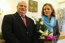 Václavu Urbancovou a Milana Sandanyho přijal starosta v obřadní síni dobřanské radnice.