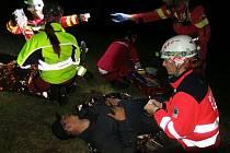 Cvičení záchranářů a hasičů u Boleváku