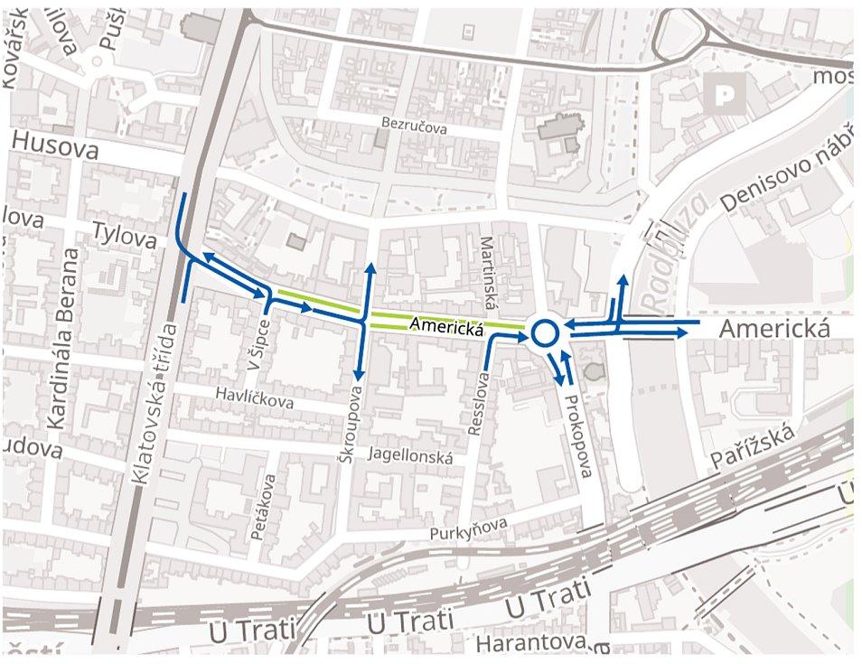 Část Americké třídy v Plzni bude od pondělí uzavřena pro motoristy.