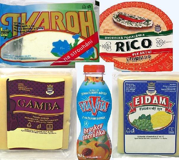 I tyto výrobky dávala na trh Mlékárna Dvorec.